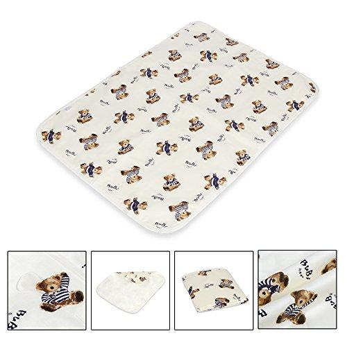 Letech® Wickelunterlage für Babys und Kleinkinder, wasserdicht, waschbar, wiederverwendbare Windel Matte (L (60*75cm), Bär)