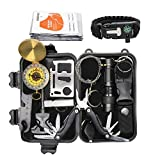 Exqline Outdoor Survival Kits 12 in 1 Survival Gear Kits Set Multi-purpose Emergency First Aid Tool With Compass Survival Bracelet Pliers Fire Starter Flashlight for Hiking Camping Climbing Cars