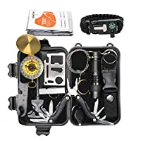 Exqline Outdoor Survival Kits 12 in 1 Survival Gear Kits Set Multi-purpose Emergency First Aid Tool With Compass Survival Bracelet Pliers Fire Starter Flashlight for Hiking Camping Climbing Cars 23