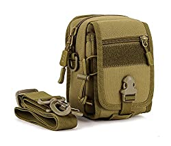 Huntvp Tactical Molle Phone Pouch Cross Body Messenger Bag Waterproof Waist Belt Pack Gear Brown