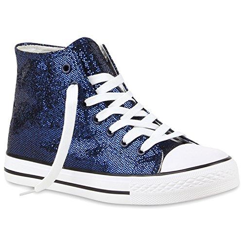 Damen High Sneakers Flats Bequeme Dunkelblau Turnschuhe Metallic Glitzer xg61aqH
