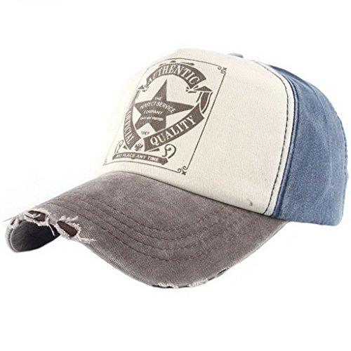 Ukerdo Cru Casquettes de Baseball Étoile Toile Chapeau Femme Homme Réglable Dotées Chapeau (A)