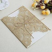 Lamdoo Kit de tarjeta de invitación de boda 10 piezas con sellos personalizados Sobre (oro)