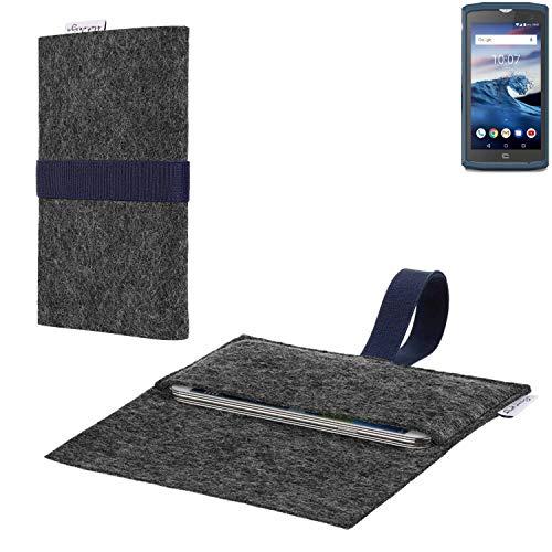 flat.design vegane Handy Hülle Aveiro für Crosscall Core-X3 passgenaue Filz Tasche Case Sleeve Made in Germany