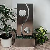 Köhko Wassserwand Yin Yang mit LED-Beleuchtung Höhe ca. 90 cm Springbrunnen Wasserspiel mit Edelstahlbecken