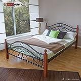 Homestyle4u 601, Metallbett 160 x 200 Mit Lattenrost, Bettgestell Metall, Pfosten Holz Braun
