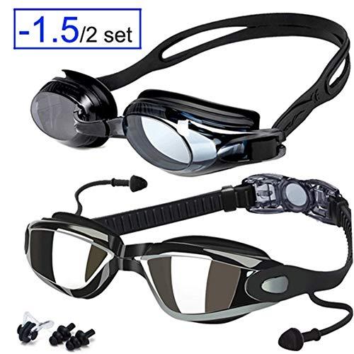 You will think of me Schwimmbrille Dioptrien Anti-Fog-Myopie Schwimmbrille Optisches Rezept Männer Frauen Prfessional Sports Swim Eyewear UV (Color : 1.5 All Black)