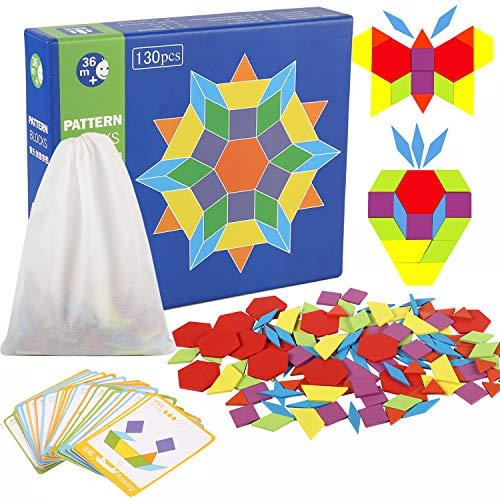 Jacootoys Holzmuster Blöcke Geometrie Spiele Puzzle Spielzeug für Kinder (130 Teile) - Kinder-blöcke