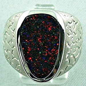 massiver Sterling Silberring mit Top GEM Fairy Boulder Matrix Opal 7 ct