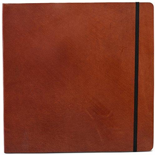 INDIARY Soft Bound Notizbuch aus echtem Leder und handgeschöpftem Papier - 30 x 30 cm