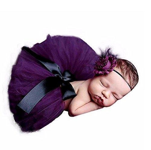 Swashh ( SET OF 2 ) Baby Purple Tutu Skirt With Headband Net Clothing / Photography Props Best Baby shower Gift