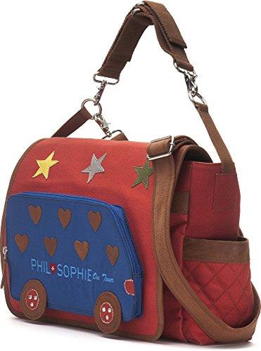 Phil + Sophie, Cntmp, donna borsette, avvolgente con tasche, Diaper Bags, Baby borse, Buggy-borse, in pelle, noorsk, 44 x 30,5 x 9 cm rosso