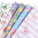 RUSPEPA Fogli di carta da regalo - Flamingo/Feather/Rainbow Pony Summer Element Collection -6 Folded fogli-50cm X70CM