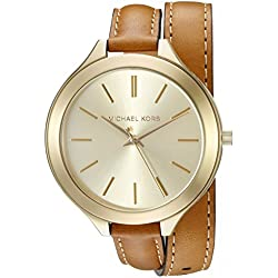 Michael Kors Women's Runway MK2256 Brown Leather Analog Quartz Watch with Gold Dial