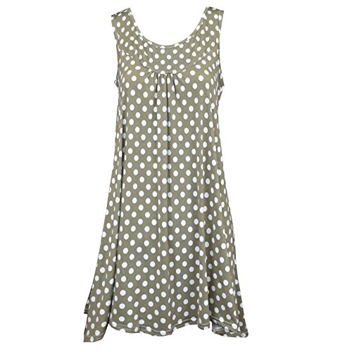 OSYARD Damen Sommer Mode Ärmellos Bluse O-Ausschnitt Oberteile mit Polka Dot Alloverprint Hemd Lange Tanktops(S-2XL)