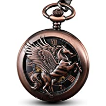 GORBEN Mens Fantasy Pegasus Mechanical Pocket Watch with Chain Hand Winding Steampunk Skeleton Fob Watches for Men Box (Pegasus No.2)