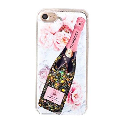 Cover iPhone 7 Liquido, LuckyW Serie di bottiglie di profumo TPU Morbido Bordo PC BackCover per Apple iPhone 7 7S(4.7 pollice) Brillantini Flowing Flusso Fluente Liquid Liquido Floating Glitter Luccic Champagne 3