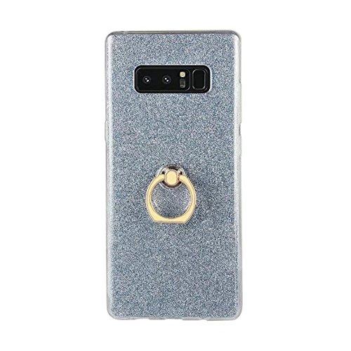 EKINHUI Case Cover Weiche flexible TPU rückseitige Abdeckungs-Fall Shockproof schützende Shell mit Bling Glitter Sparkles und Kickstand für Samsung-Galaxie-Anmerkung 8 ( Color : Gold ) Blue
