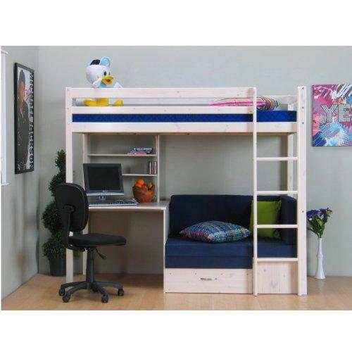 Dynamic24 Thuka Hochbett 90×200 Kiefer massiv Bett Kinderbett Gästebett Schreibtisch