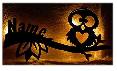 Schlummerlicht24 Led Design Eule Nachtlicht Kinder Lampe Baby-Geschenke zur Geburt Taufe mit individuell-em Name-n Geburtsgeschenk personalisiert