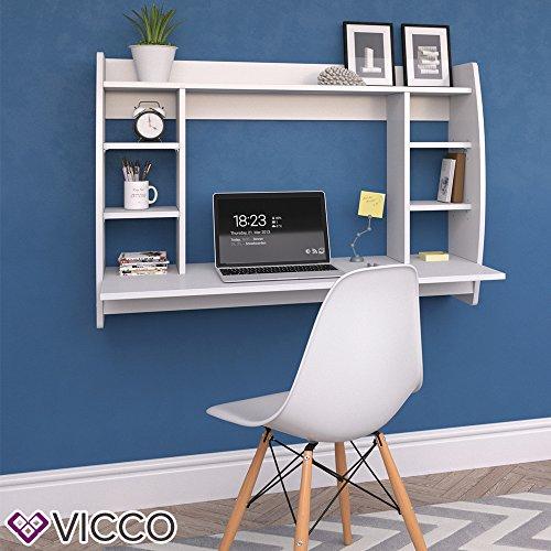 VICCO Wandschreibtisch MAX 110 cm - Schreibtisch Wandschrank Wandtisch Bürotisch Arbeitstisch für PC Computer - 3 Dekore (Weiß) - 3