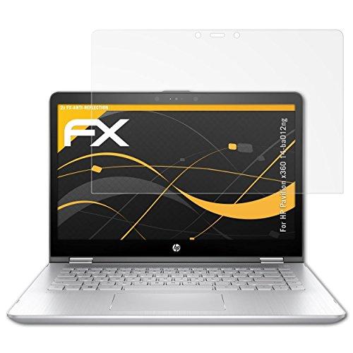 atFolix Panzerfolie kompatibel mit HP Pavilion x360 14-ba012ng Schutzfolie, entspiegelnde & stoßdämpfende FX Folie (2X)
