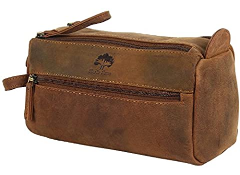 Handmade Traditional Genuine Leather Travel Toiletry Wash Bag Bathroom bag Dopp Kit for Makeup Cosmetics for Men and Women with Vintage and Antique look A Gift from Indian Artists - 50 ° Anniversario Set