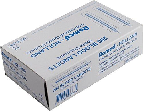 Romed Lanzetten Blutlanzetten einzeln steril verpackt Diabetiker, 200 Stück