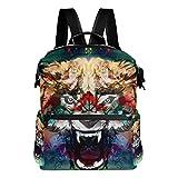 COOSUN Colorido enojado escuela Jefe Lobo Mochila mochila de viaje Multi