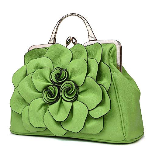 Ruiatoo Damen Handtaschen, 3D-Blumen-Design, formelle Party, Hochzeit, Tasche, Handtasche mit abnehmbarem Schulterriemen, Grn (lichtgrün), Medium