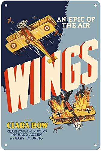 Wings An Epic of The Air Tin Wall Sign Metall Blechschild Garage Cafe Garten Wohnzimmer Küche Plaque Art Poster Metallschild Wand Dekoration