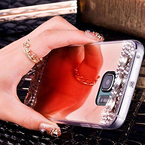 Custodia per Galaxy S8,Diamante Specchio Cover per Galaxy S8,Leeook Lusso Luccichio Strass Bling Glitter Ragazze Donne Specchio da Trucco Mirror Effect in Argento Rosa Morbida Ultra Sottile Anti-Graff Diamante Specchio,Oro Rosa