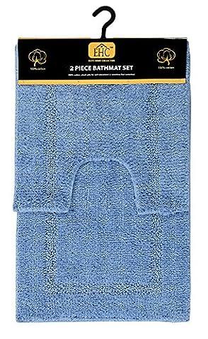 EHC Racetrack Cotton Bathroom Bath Mat Pedestal Set, Sky Blue, 2-Piece