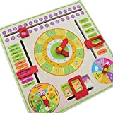 Trinkets & More Wall Mountable Wooden Calendar Toy Clock with Slider for Kids 3+ Years (Multicolour)