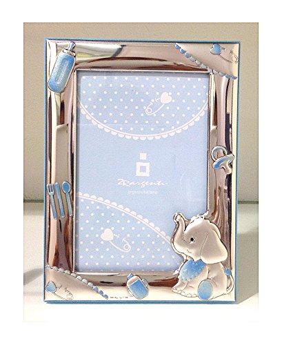 Cornice neonato | elefantino | legno, argento bilamina | 2r argenti (celeste 13x18 cm)