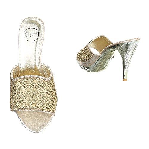 Ital-Design - Scarpe con plateau Donna Gold