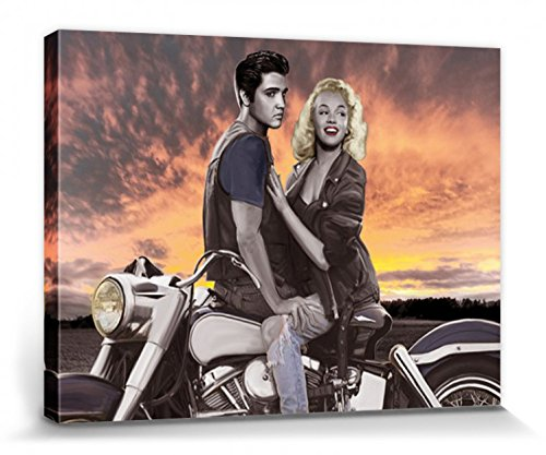 1art1 69341 Joshua M. Nelson - Marylin Monroe Und Elvis Presley, Motorrad-Ausflug Im Sonnenuntergang Leinwandbild Auf Keilrahmen 80 x 60 cm (Bilder Monroe Marilyn Und Elvis)