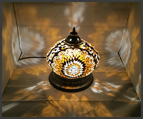 Mosaik - Kugellampe Mosaiklampe Glas Kugel NEU & EXKLUSIV Mosaikkugel orientalische lampe Gold Samarkand-Lights (Tiffany-tisch-lampe Gold)