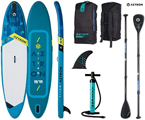 AZTRON Titan 11.11 Inflatable SUP Stand up Paddle Board mit Speed Carbon Paddel und Leash 363x80x15cm -
