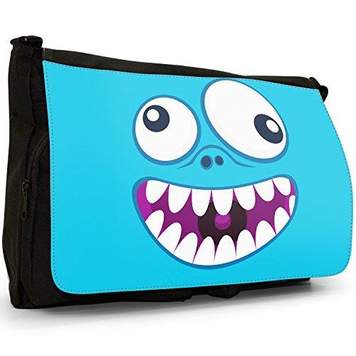 Monster Faces–Borsa Tracolla Tela Nera Grande Scuola/Borsa Per Laptop Crazy Monster Face
