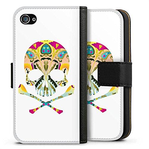 Apple iPhone X Silikon Hülle Case Schutzhülle Decorative Skull Totenkopf Schädel Sideflip Tasche schwarz