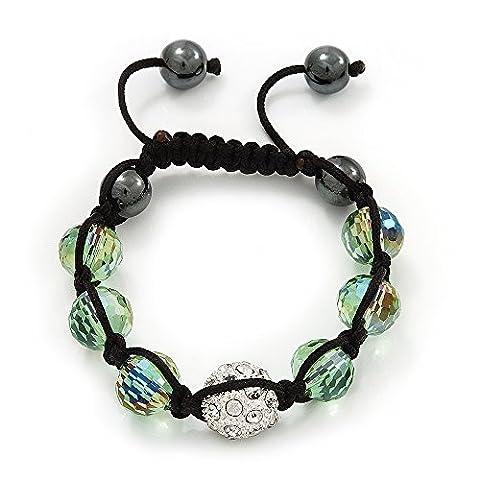 &Vert clair cristal transparent Swarovski Bracelet Shamballa boules 10 mm)-réglable