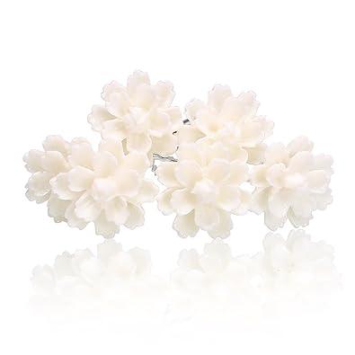 Brautschmuck set blüten  Weiße Blumen Haarnadeln Lotus Blüte Hochzeit Braut Haarschmuck ...