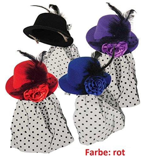 Minihut Marie mit Haarclip, fascinator, Schleier, Hut, Feder (rot) (Carnaval De Rio Kostüm)