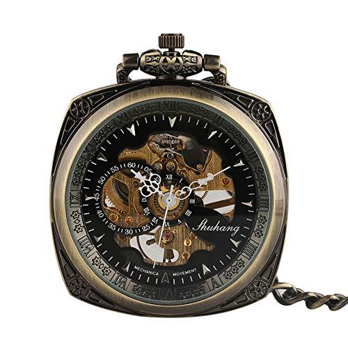 XY&DQ Taschenuhr Retro Bronze Handaufzug Mechanische Taschenuhr Vintage Muster Skelett Steampunk Square Design Mechanische Taschenuhren in Taschen- und Taschenuhren von Watches, Bronze