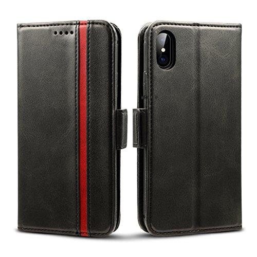 Rssviss iPhone XS/X Hülle,Premium Leder iPhone 10 Schutzhülle [3 Kartenfächer ] iPhone XS/X Case mit [Magnetverschluss ] für iPhone XS/X,5.8 Zoll,Schwarz (W5)