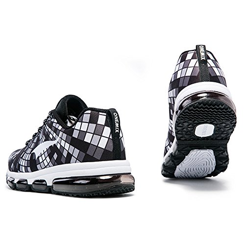 Onemix Men Lightweight Mesh Air Cushion Outdoor Sport Running Shoes Casual Shoes Black White