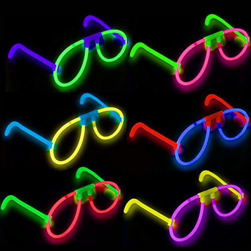 - 6 x Magische Leucht - Brillen┃ LED ┃ KNALLBUNT ┃ Farb MIX ┃ Kindergeburtstag ┃ Schatzsuche ┃ Mitgebsel ┃ 6 Stück (Leuchten Luftballons Großhandel)
