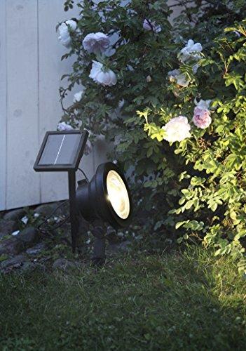 Kamaca LED SOLAR Spotlight effektvolle Beleuchtung hohe Leuchtkraft 30 Lumen helle Ausleuchtung schwarz SOLARPANEL inklusive Erdspieß