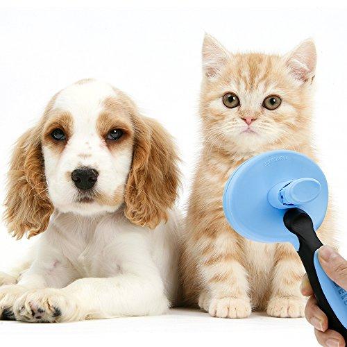 Yica Softbürste Fellpflege für Hunde und Katzen Zupfbürste,Premium Unterwollbürste & Unterfellbürste für Mittel- & Lang-Haar Enthaarungs- & Entfilzungs- Bürste Zupfbürste Fellpflege Hundebürste,Blau - 5